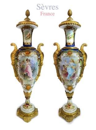 A Pair of Art Nouveau Sevres Porcelain Vases