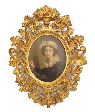 The Painter Girl, 19th C. Rococo Framed Oil on Board