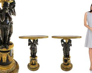 A PAIR OF 19TH C. FIGURAL BRONZE & MARBLE SIDE TABLES