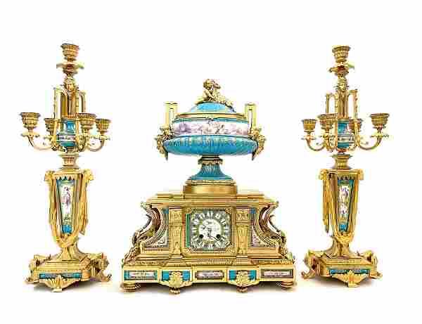 19th C. French Sevres Bronze Clock Set
