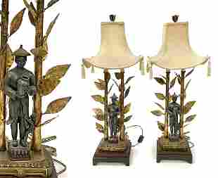 A Pair of Chinese Figural Lamps