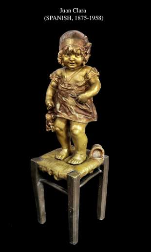 Juan Clara (Spanish 1875-1958) Bronze Sculpture, Signed