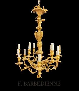 F. Barbedienne Bronze 12 Lights Chandelier, 19th C.