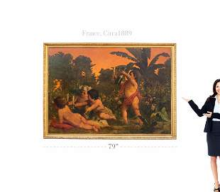 A French Oil On Canvas Painting Of Cupids, Signed, 1889