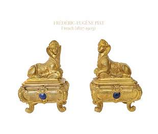 A Pair of Frederic Eugene Piat Gilt Bronze Chenets