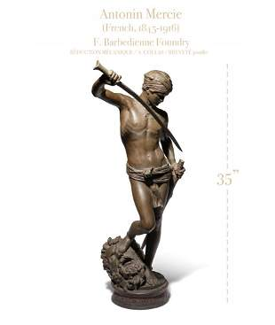 DAVID LE VAINQUEUR, Antonin Mercie Bronze Sculpture
