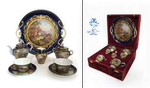19th C French Sevres Porcelain Tea Set in Original Case