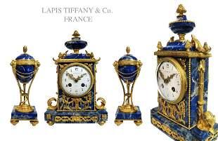 A Tiffany & Co. Lapis Lazuli Bronze Clock Set, 19th C.