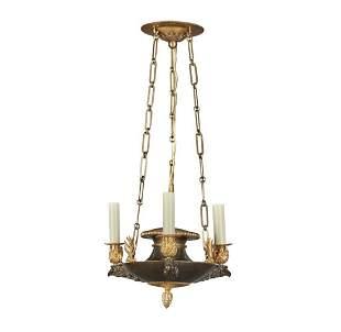 19th C. Swedish Empire Bronze 3-Light Hanging Lantern