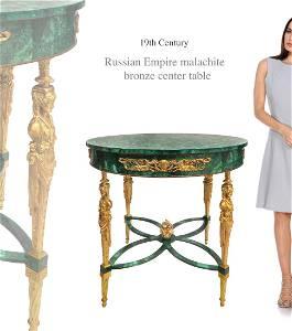 Russian Empire Malachite & Gilt Bronze Center Table