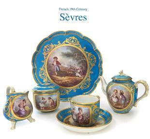 Late 18th C. French Sevres Porcelain Coffee / Tea set