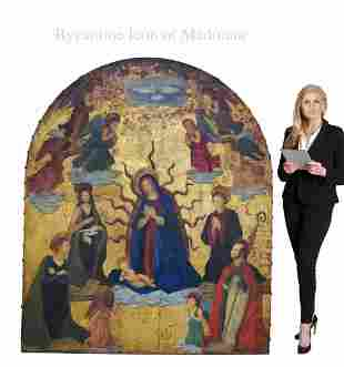 A Monumental Byzantine Icon of Madonna