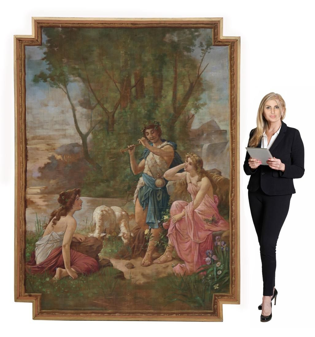 A Monumental Oil Painting on Tapestry, Signed