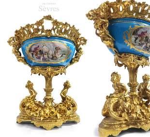 19th C Large Louis XV Figural Bronze\Sevres Centerpiece