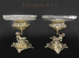 A Pair of Elkington Silver Plated Figural Tazza, 19th C