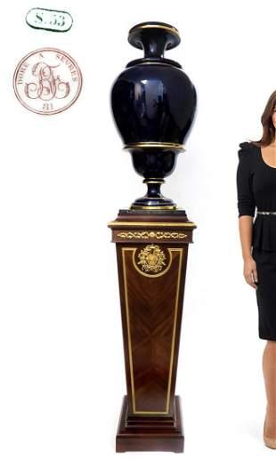 Monumental 19th C French Sevres Cobalt Blue Gilded Vase