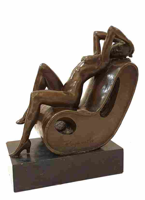 The Relaxation, A Bronze Sculpture, Raymundo Signed