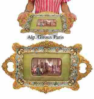 Alp. Giroux Enameled Gilt Bronze & Sevres Plaque Tray