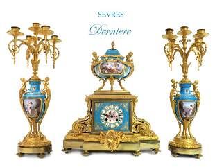 19th C. French Sevres Gilt Ormlu Derniere Clock Set