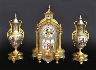 19th C. Bronze & Porcelain Platinum Ground Clock Set