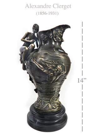 Art Nouveau Bronze Figural Pitcher By Alexandre Clerget