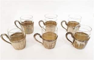 A German Jewish Lazarus Posen Silver Tea Cup Set