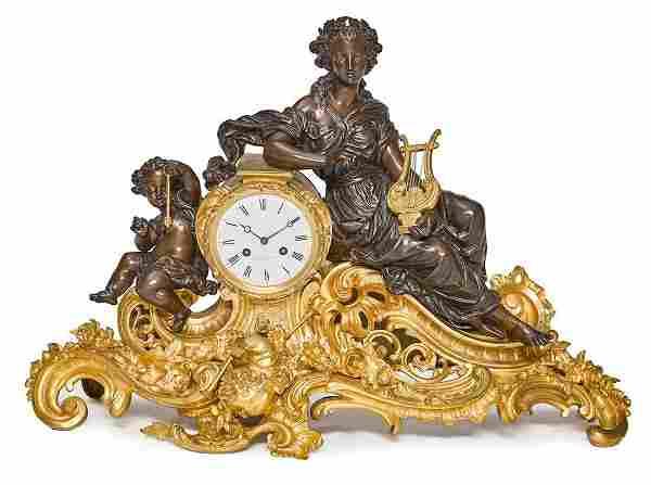 NAPOLEON III GILT/PATINATED BRONZE FIGURAL MANTEL CLOCK