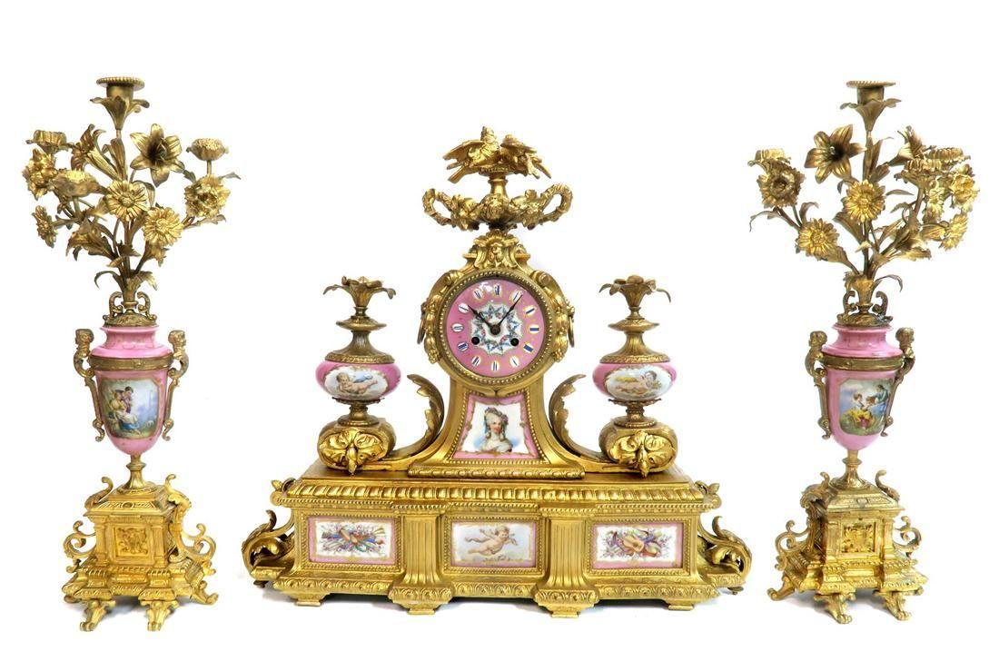 Monumental Bronze & Sevres Porcelain Clock Set