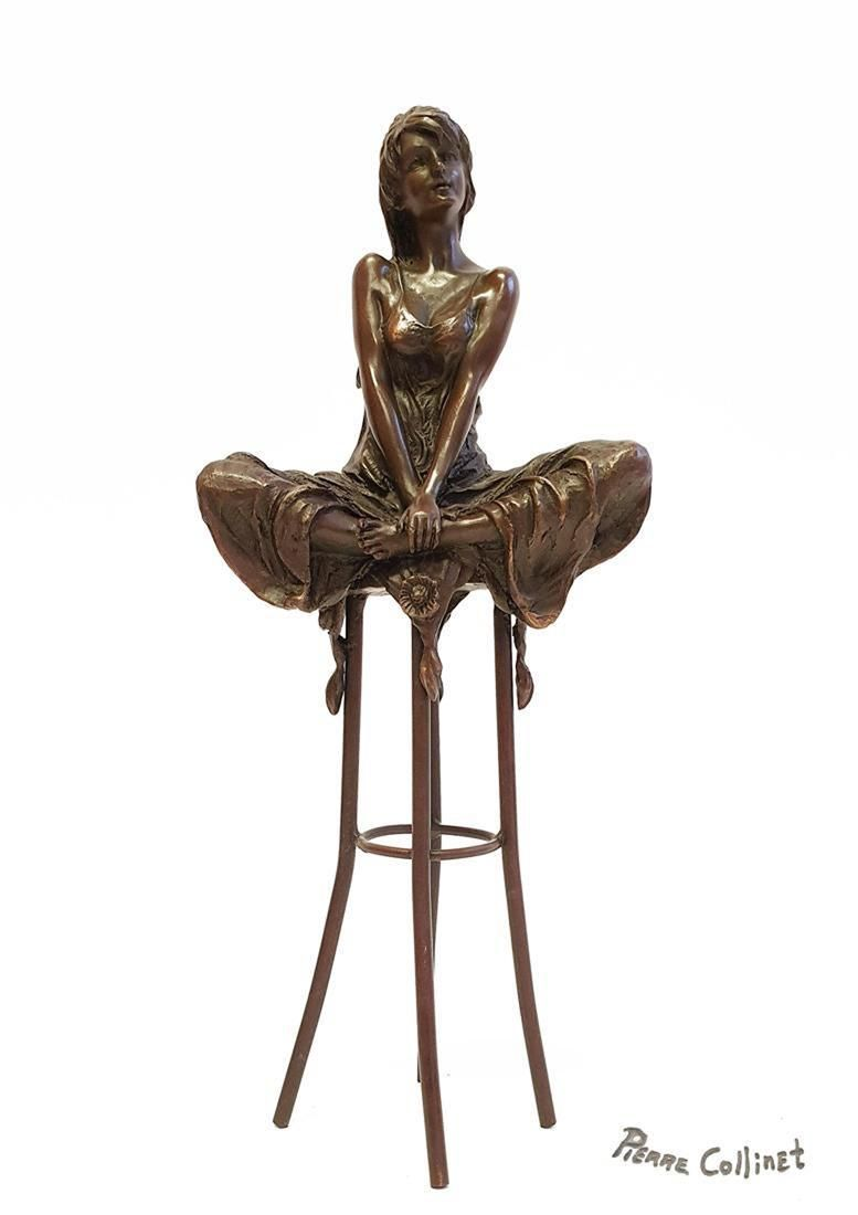 """A Lady on Stool, A Bronze Figurine By """"Pierre Collinet"""""""