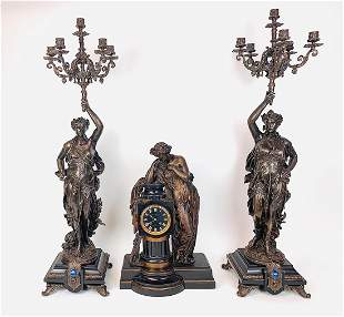19th C French Patinated Bronze Clock Set By Charpentier