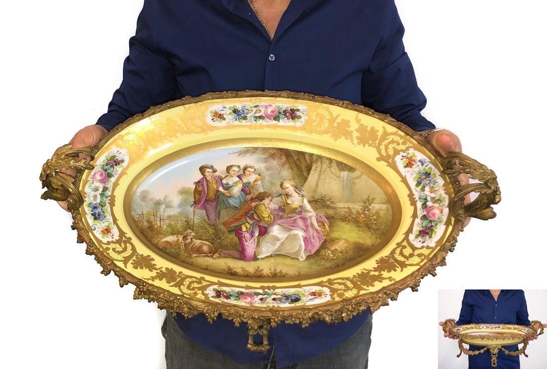 A Large French Sevres Bronze & Porcelain Centerpiece