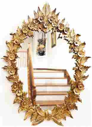 A LARGE GILTWOOD ROCOCO STYLE MIRROR, LATE 19TH C.