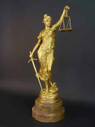 Justice, 19th Century Gilt Bronze Sculpture, Signed