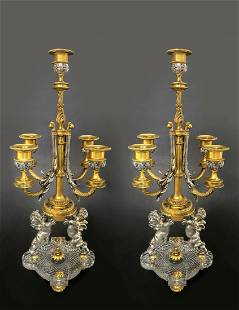 19th C. Pair of Bronze & Baccarat Crystal Candelabras