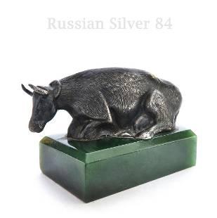 Russian Silver 84 Figurine Cow on Jade
