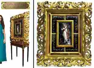 A Large 19th C. Framed Enamel on Copper