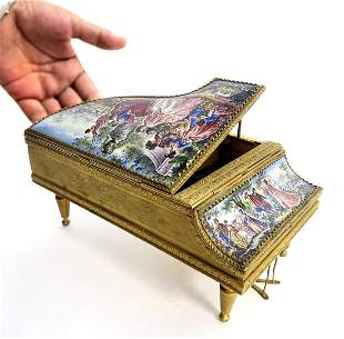 19th C. Large Viennese Enamel Piano Music box