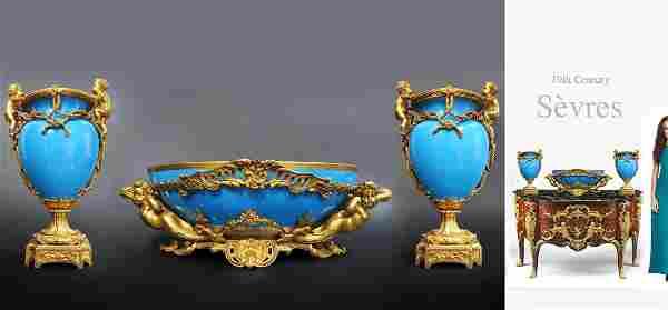 Very Large Sevres Figural Bronze Centerpiece & Vase Set