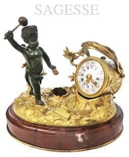 19th C. SAGESSE Patinated/Gilt Bronze Inkwell clock