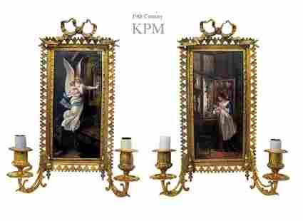 A Pair of 19th C. BERLIN KPM Plaque Bronze Wall Sconces