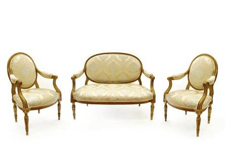 Napoleon III Suite of Upholstered Furniture Set,19th C.
