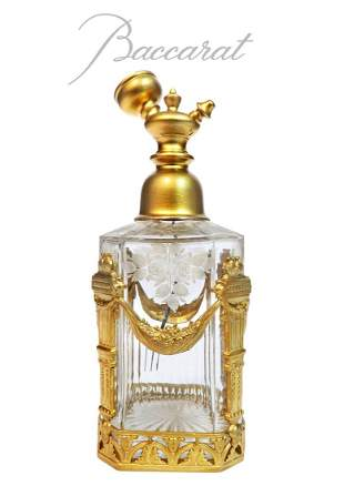 19th C. French Baccarat Crystal & Bronze Perfume Bottle