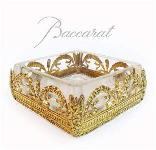 19th C. French Baccarat Crystal & Fine Bronze ashtray