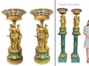 Pair of Monumental Empire Bronze/Malachite Centerpieces