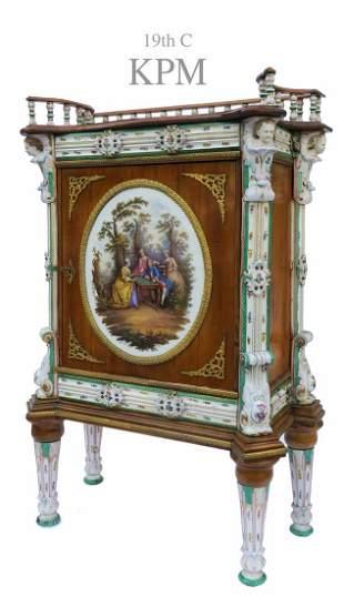 A Magnificent German KPM Figural Cabinet, 19th C.