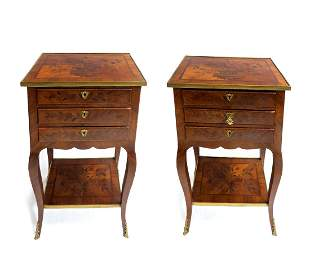 18th C. Pair of Tulipwood & Floral Marquetry Side Table