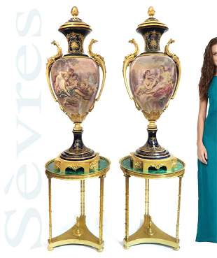 A MONUMENTAL PAIR OF SEVRES COBALT VASES, SIGNED MAXANT