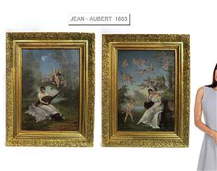Jean-Ernest Aubert (French, 1824-1906) Pair of O/C
