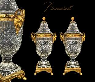 Fine 19th C Pair of French Baccarat Crystal Bronze Urns