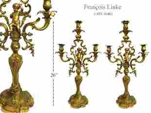 A Pair of F. Linke Figural Bronze Candelabras, 19th C.